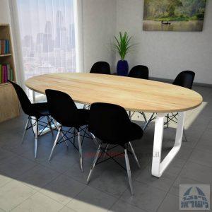 שולחן ישיבות מודרני דגם Ola רגל לבנה