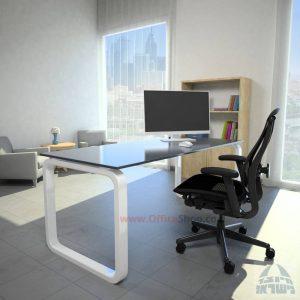 שולחן כתיבהדגם Ola Glassזכוכית אפורה מחוסמת – רגללבנה