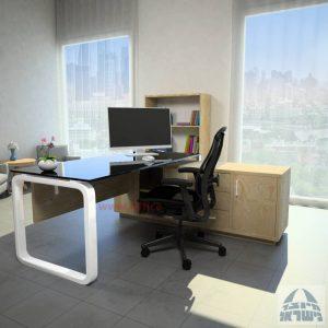 שולחן מנהלים פינתי דגם Ola Glass רגל לבנה כולל זכוכית שחורה