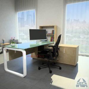 שולחן מנהלים פינתי דגם Ola Glass רגל לבנה כולל זכוכית לבנה
