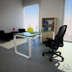 שולחן כתיבה Ola Glassזכוכית שקופה מחוסמת – רגל לבנה