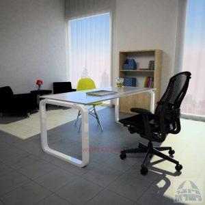 שולחן כתיבה Ola Glassזכוכית אקסטרה קליר צרובה – רגל לבנה