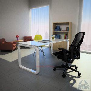 שולחן כתיבה Ola Glassזכוכית אקסטרה קליר בצבע לבן שלג – רגל לבנה