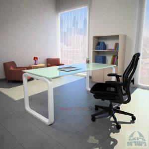 שולחן כתיבה Ola Glassזכוכית לבנה מחוסמת – רגל לבנה