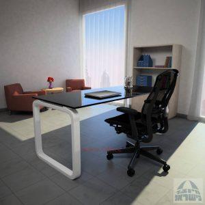 שולחן כתיבהOla Glassזכוכיתשחורהמחוסמת – רגל לבנה