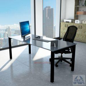 שולחןכתיבהדגםROTEMזכוכית אפורהמחוסמתרגלשחורה