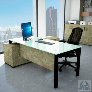 שולחן מנהלים פינתי Rotem Glass רגל שחורה + זכוכית לבנה
