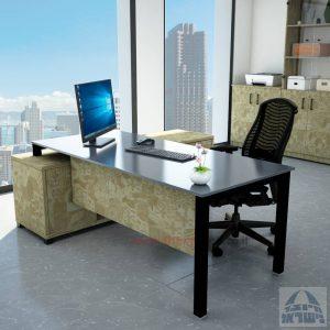 שולחן מנהלים פינתי Rotem Glass רגל שחורה + זכוכית אפורה