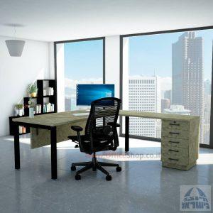 שולחן מזכירה יוקרתי Rotem - M5רגל שחורה - מיסתור עץ