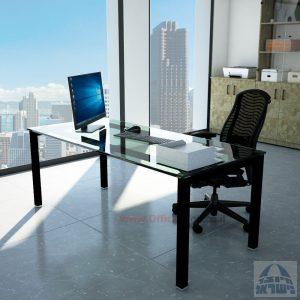 שולחןכתיבהדגםROTEMזכוכית שקופהמחוסמתרגלשחורה