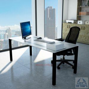 שולחןכתיבהדגםROTEMזכוכית מחוסמתאקסטרה קליר חלבית צרובהרגלשחורה