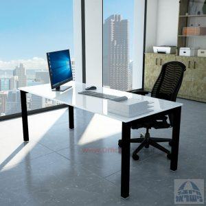 שולחןכתיבהדגםROTEMזכוכית מחוסמתאקסטרה קליר בצבע לבן שלגרגלשחורה