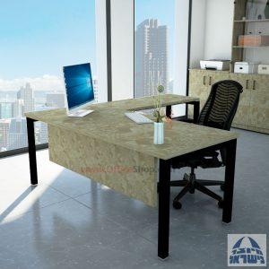 שולחן מזכירה פינתי רגל שחורה - מיסתור עץ
