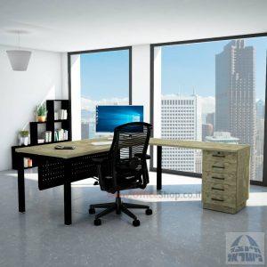 שולחן מזכירה יוקרתי Rotem - M5רגל שחורה - מיסתור מתכת