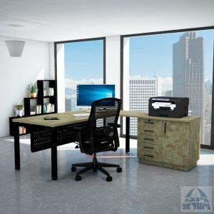 שולחן מזכירה יוקרתי Rotem - MD5 רגל שחורה - מיסתור מתכת