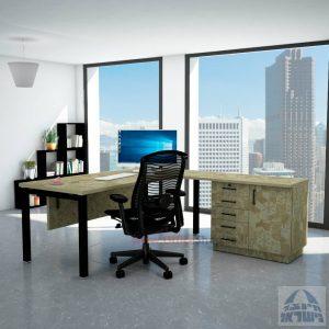 שולחן מזכירה יוקרתי Rotem - MD5 רגל שחורה - מיסתור עץ