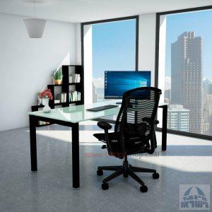 שולחןכתיבהדגםROTEMזכוכית לבנהמחוסמתרגלשחורה