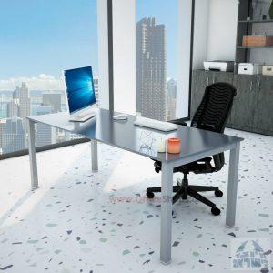 שולחןכתיבהדגםROTEMזכוכית אפורהמחוסמתרגלכסופה