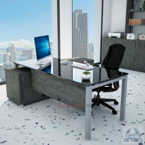 שולחן מנהלים פינתי Rotem Glass רגל כסופה + זכוכית שחורה