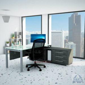 שולחן מנהלים פינתי Rotem Glass רגל כסופה + זכוכית לבנה