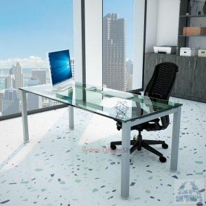 שולחןכתיבהדגםROTEMזכוכית שקופהמחוסמתרגלכסופה