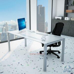 שולחןכתיבהדגםROTEMזכוכית מחוסמתאקסטרה קליר חלבית צרובהרגלכסופה