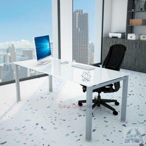 שולחןכתיבהדגםROTEMזכוכית מחוסמתאקסטרה קליר בצבע לבן שלגרגלכסופה