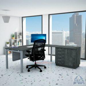 שולחן מזכירה יוקרתי Rotem - MD5 רגל כסופה - מיסתור מתכת