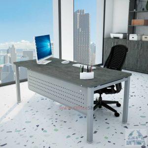 שולחן כתיבה יוקרתי דגם ROTEM רגל כסופה כולל מיסתור מתכת