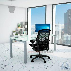 שולחןכתיבהדגםROTEMזכוכית לבנהמחוסמתרגלכסופה