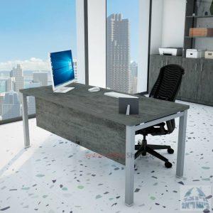 שולחן כתיבה יוקרתי דגם ROTEM רגל כסופה כולל מיסתור עץ