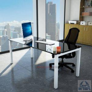 שולחןכתיבהדגםROTEMזכוכית שחורהמחוסמתרגלכסופה