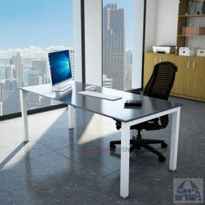 שולחןכתיבהדגםROTEMזכוכית אפורהמחוסמתרגללבנה