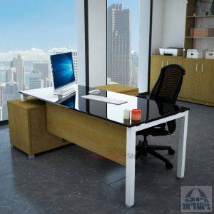 שולחן מנהלים פינתי Rotem Glass רגל לבנה + זכוכית שחורה