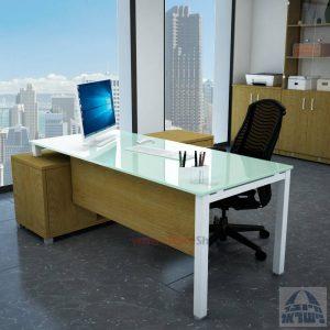 שולחן מנהלים פינתי 140X70 דגם  Rotem Glass פלטה זכוכית