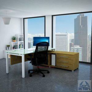 שולחן מנהלים פינתי Rotem Glass רגל לבנה + זכוכית לבנה