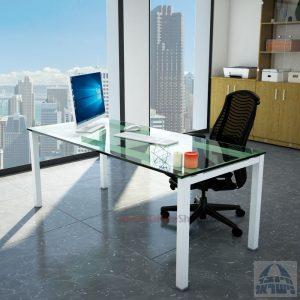 שולחןכתיבהדגםROTEMזכוכית שקופהמחוסמתרגללבנה