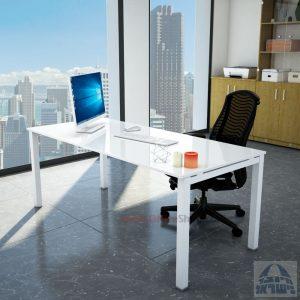 שולחןכתיבהדגםROTEMזכוכית מחוסמתאקסטרה קליר בצבע לבן שלגרגללבנה