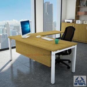 שולחן מזכירה פינתי רגל לבנה - מיסתור עץ