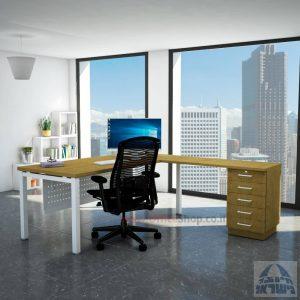 שולחן מזכירה יוקרתי Rotem - M5רגל לבנה - מיסתור מתכת