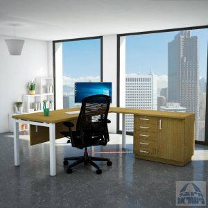 שולחן מזכירה יוקרתי Rotem - MD5 רגל לבנה - מיסתור עץ