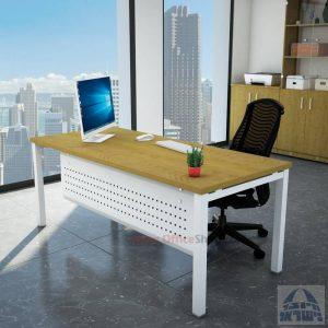 שולחן כתיבה יוקרתי דגם ROTEM רגל לבנה כולל מיסתור מתכת