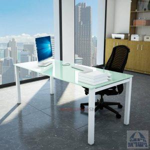 שולחןכתיבהדגםROTEMזכוכית לבנהמחוסמתרגללבנה
