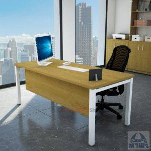 שולחן כתיבה יוקרתי דגם ROTEM רגל לבנה כולל מיסתור עץ
