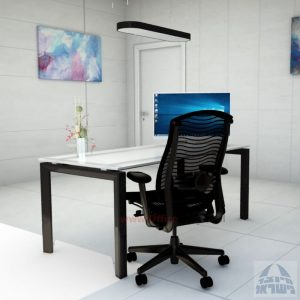 Sapir Glass שולחן כתיבה זכוכית אקסטרה קליר חלבית צרובה - רגל שחורה