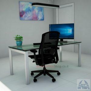Sapir Glass שולחן כתיבה זכוכית שקופה - רגל כסופה