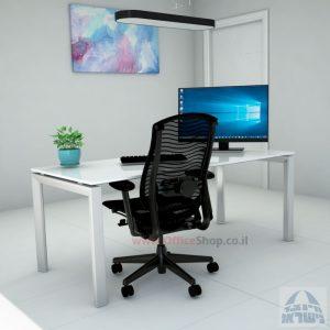 Sapir Glass שולחן כתיבה זכוכית אקסטרה קליר בצבע לבן שלג - רגל כסופה