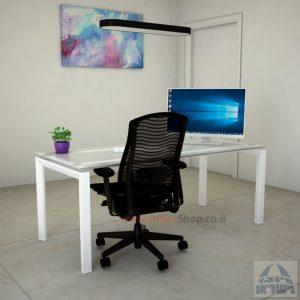 Sapir Glass שולחן כתיבה זכוכית אקסטרה קליר חלבית צרובה - רגל לבנה