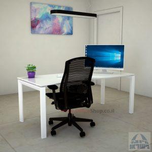 Sapir Glass שולחן כתיבה זכוכית אקסטרה קליר בצבע לבן שלג - רגל לבנה