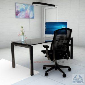Sapir Glass שולחן כתיבה זכוכית שחורה - רגל שחורה